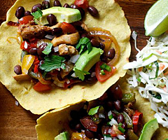 Homemade Tortilla Chicken Fajitas with Caramelized Onion Guacamole