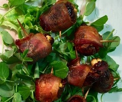 Bacon Wrapped Dates and Figs with Goat Cheese