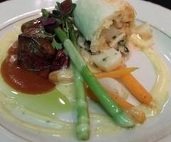 Duet of Pan Seared Beef Tenderloin & Seafood Strudel of Lobster, Shrimp, & Scallop