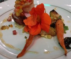 Crispy Pancetta Seared Kurobuta Pork & Tangerine Shrimp