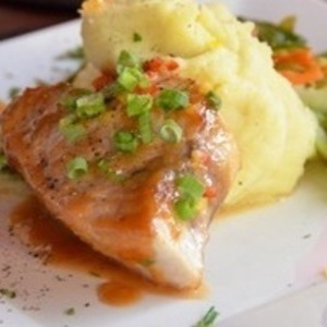 Swordfish w/ Miso Glaze, Wasabi Mashed Potatoes & Japanese Vegetable Medley