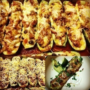 Zucchini Chicken enchilada  Boats